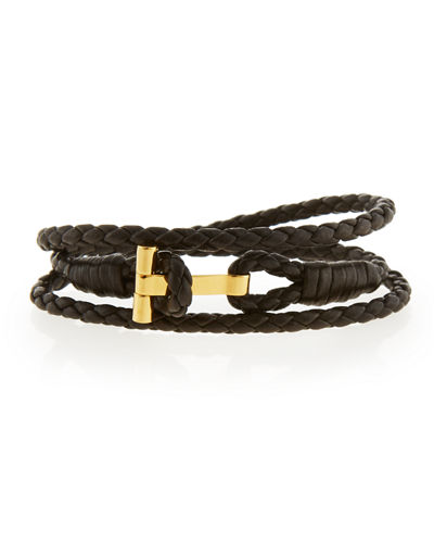 Men's Leather T Wrap Bracelet, Small