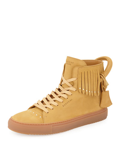 Buscemi 125mm Leather High-Top Sneaker with Fringe
