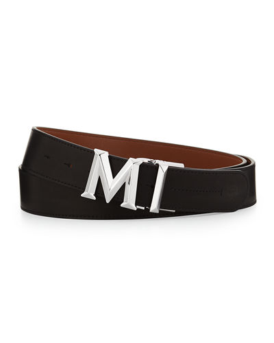M-Buckle Smooth Leather Belt