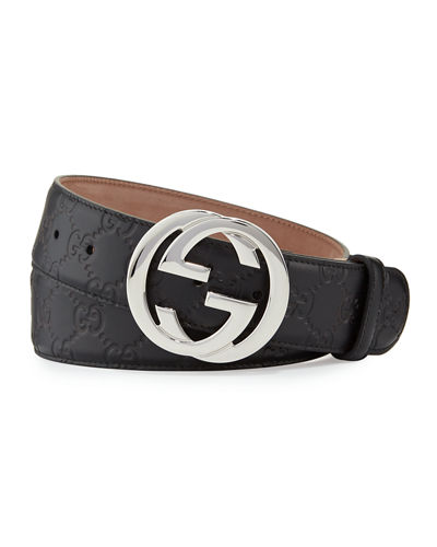 Gucci Interlocking G-Buckle Leather Belt
