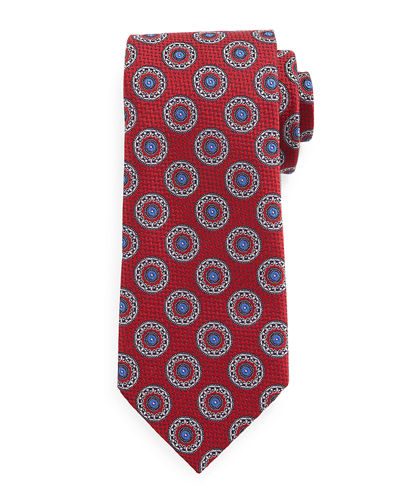 Ermenegildo Zegna Circle-Medallion Print Silk Tie, Light Blue