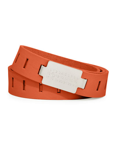 Code-Buckle Leather Belt