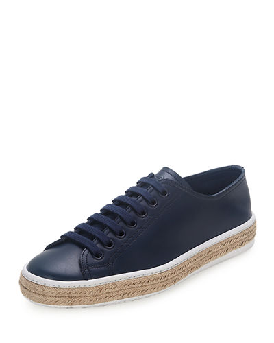 Low-Top Leather Espadrille Sneaker