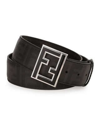 Fendi Zucca-Print Leather Enamel-Buckle Belt