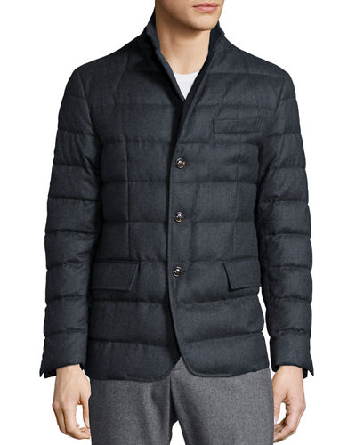 moncler down quilted front ribbed jacket in navy