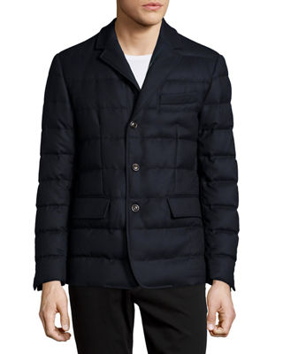 MONCLER Rodin Quilted Button-Down Jacket, Dark Gray, Navy ...