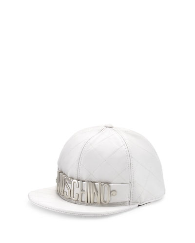 Men's Logo Quilted Leather Flat-Bill Hat
