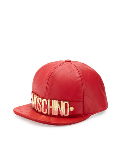 MoschinoMen's Logo Quilted Leather Flat-Bill Hat