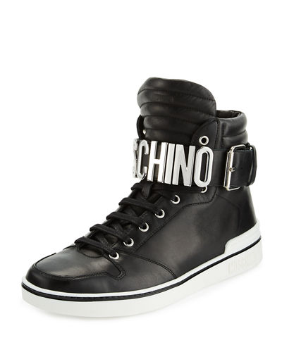 Leather High-Top Sneaker W/Logo Lettering