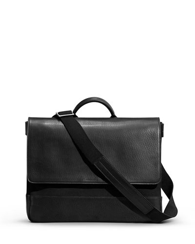 Shinola Leather/Canvas Flap-Top Messenger Bag