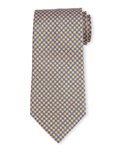 Neat Square-Dot Patterned Silk Tie