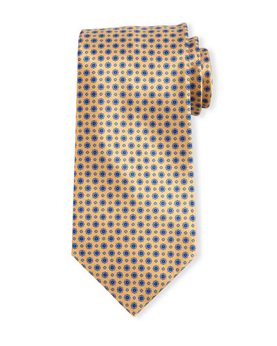 Neat Floral-Dot Patterned Silk Tie