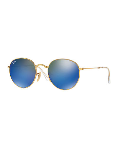 Men's Etched Round Mirrored Sunglasses