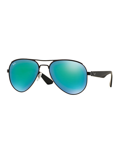 Ray-Ban Metal Aviator Sunglasses with Mirror Lenses