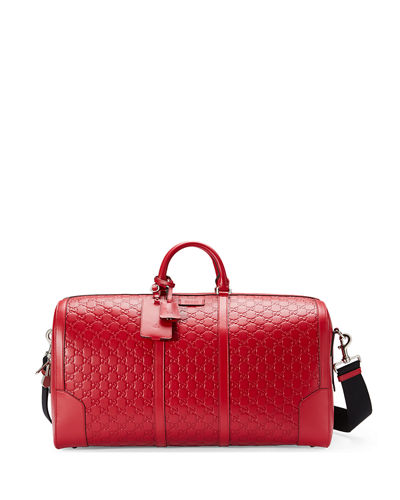Gucci Signature Large Leather Duffel Bag