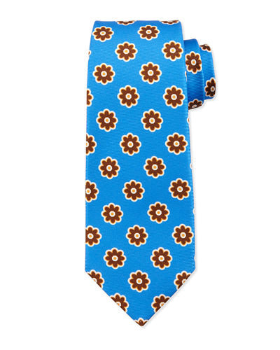 Large Flower-Medallion Printed Silk Tie