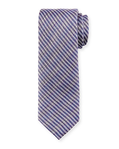 Open-Weave Plaid Silk Tie