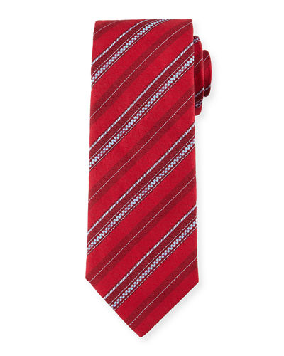 Zipper-Stripe Printed Silk Tie