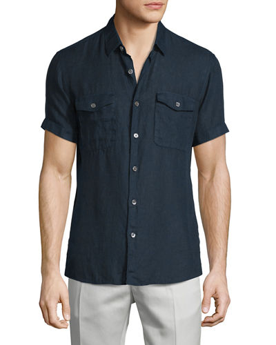 Short-Sleeve Linen Shirt, Fading