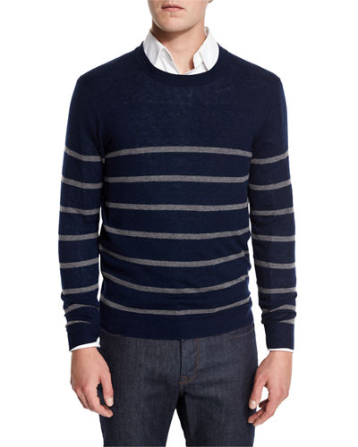 Cashmere-Cotton Striped Crewneck Sweater