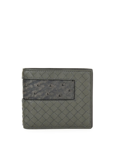 Woven Leather Wallet W/Ostrich-Inset