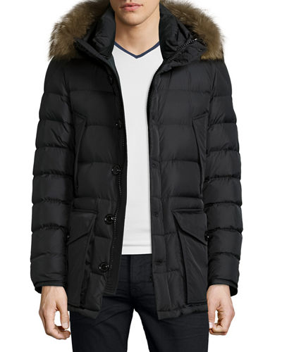 Moncler Cluny Nylon Puffer Jacket with Fur Hood