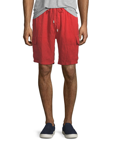 Baie Solid Linen Cargo Shorts