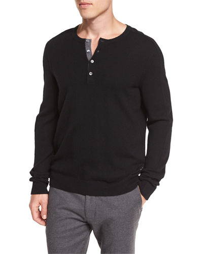 Cashmere Long-Sleeve Henley Sweater