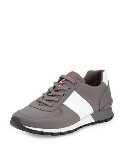 prada leather nylon running sneaker. Black Bedroom Furniture Sets. Home Design Ideas