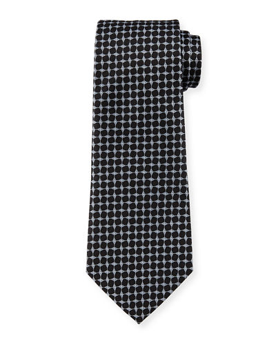 Geometric Box-Printed Silk Tie
