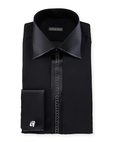 Crystal-Placket Silk French-Cuff Tuxedo Shirt