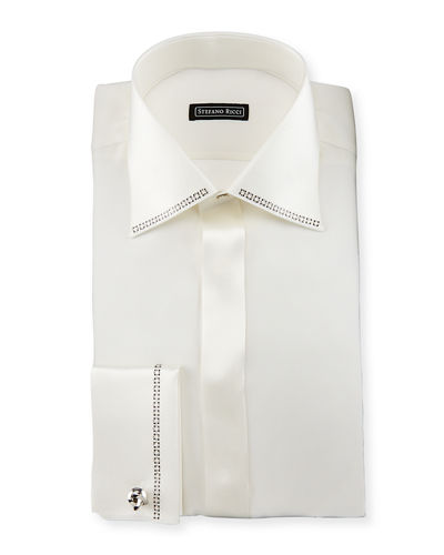 Crystal-Trim Silk French-Cuff Tuxedo Shirt