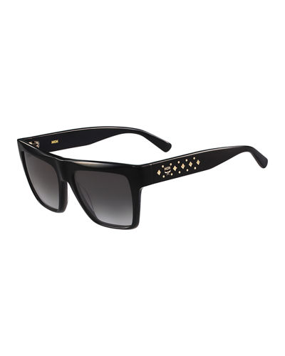 Side-Studs Flat-Top Plastic Sunglasses