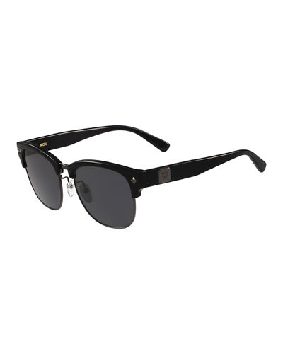Logo Plaque Half-Rim Sunglasses