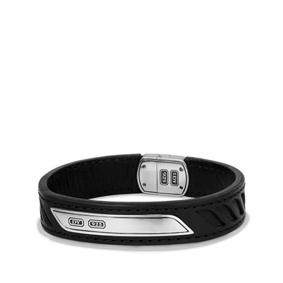 Men's Leather Cable ID Bracelet