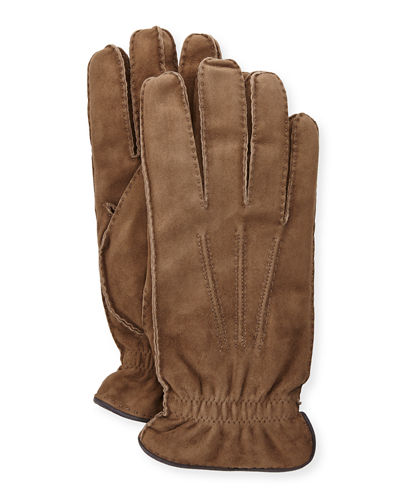 Suede Cashmere-Lined Gloves
