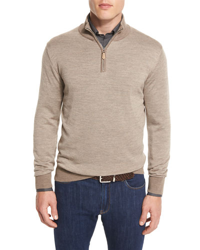 Merino-Blend Micro-Stripe Quarter-Zip Sweater