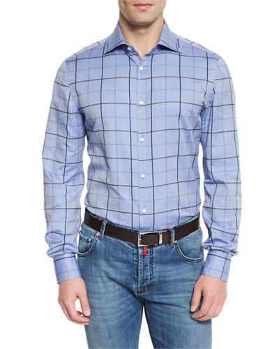 Windowpane-Check Sport Shirt