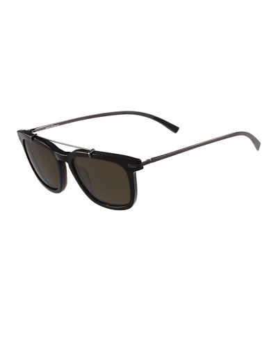 Polarized Square Sunglasses W/Metal Bar