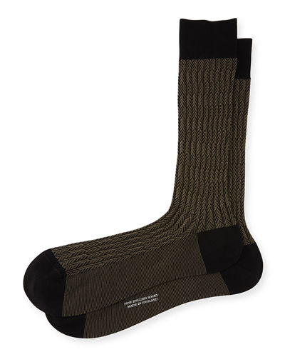 Pantherella Feathered Herringbone Dress Socks