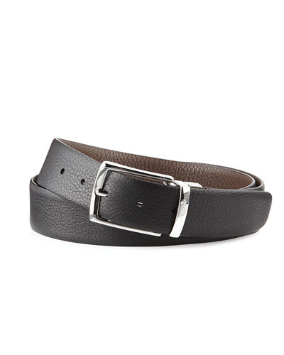 Pebbled Leather Reversible Belt
