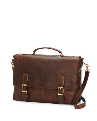 Logan Antique Leather Flap Briefcase