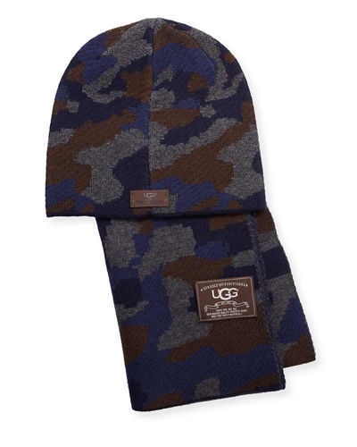 Men's Camouflage Wool-Blend Scarf & Beanie Hat Set