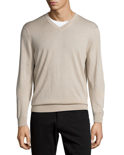 Cashmere-Silk V-Neck Sweater