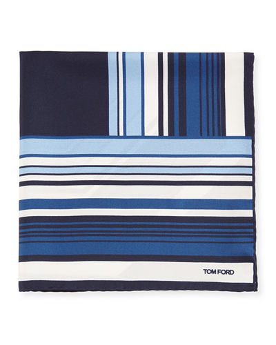 Geo-Stripe Silk Pocket Square