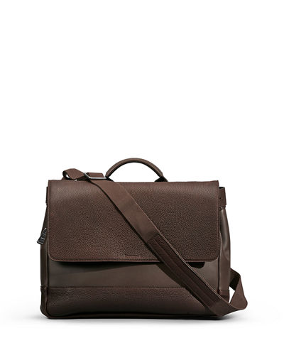 Men's Leather Flap-Top Messenger Bag