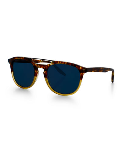 Men's Rainey Round Top-Bar Sunglasses, Matte Mottled Amber Tortoise Gradient