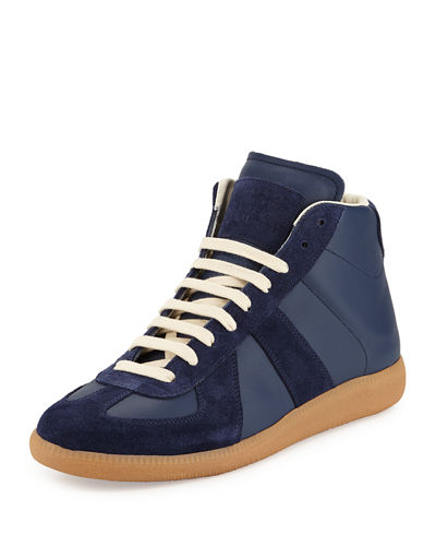 Replica Mid-Top Leather & Suede Sneaker, Blue