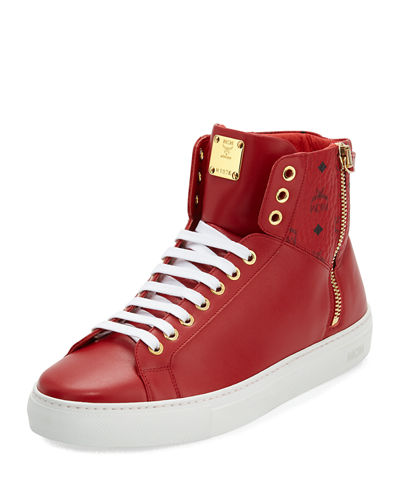 MCM Collection Leather High-Top Sneaker