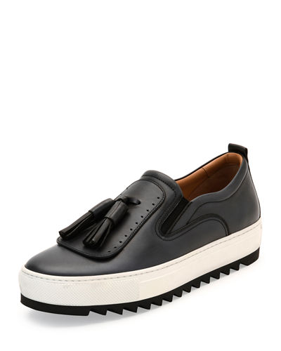 Leather Sneaker with Oversized Tassels on Archival Sawtooth Sole